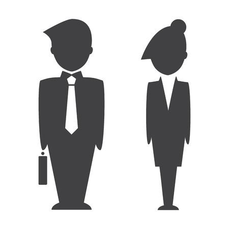 Smart Geschäftsmann und Geschäftsfrau Symbol auf weißem Hintergrund. Vektor