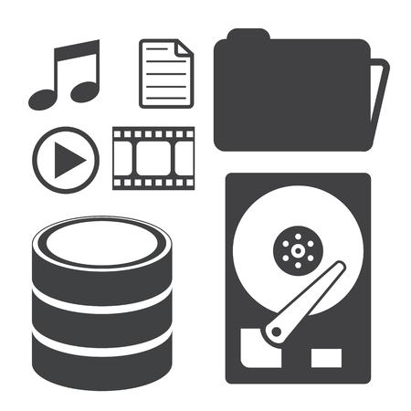 database: Big Data icons set, Data storage and Database