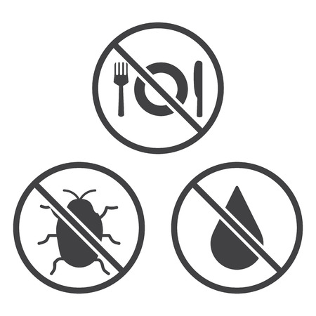 vector control illustration: Do not Eat, Bug and Wet icons. Vector