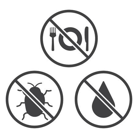 hacer: No coma, Bug y los iconos en Seco. Vector