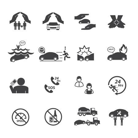 demolishing: Car insurance icons set.