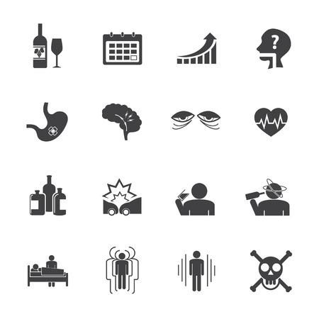 desperation: Alcoholism icons set. Vector