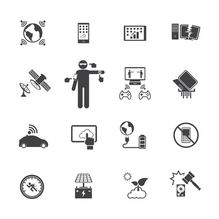 new technology: New Technology Trends icons set. Vector flat design for Infographic. Illustration