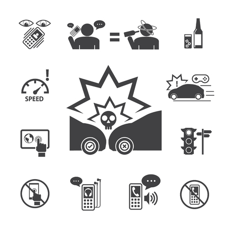 inattention: Do not use your phone while driving.Vector icons set for Infographic and Mobile application.