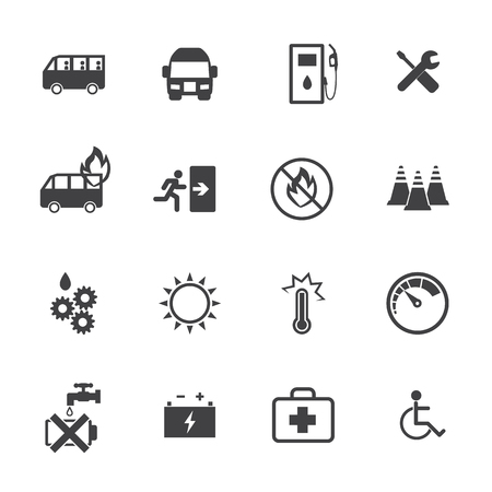 incident: Dangers of bus icons set. Vector flat design.