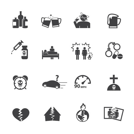 alcoholism: Alcoholism icons set.