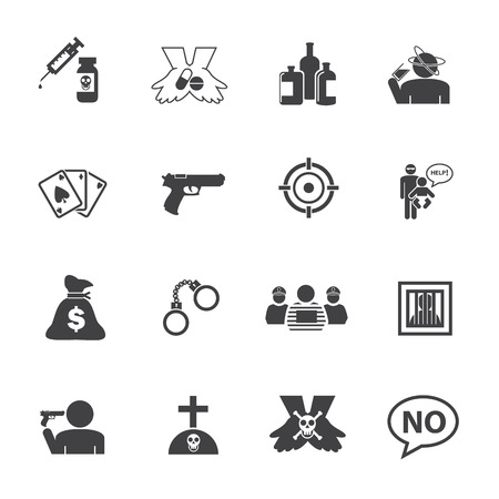 heist: Just say NO. Simple Drug and Crime Icons set. Illustration