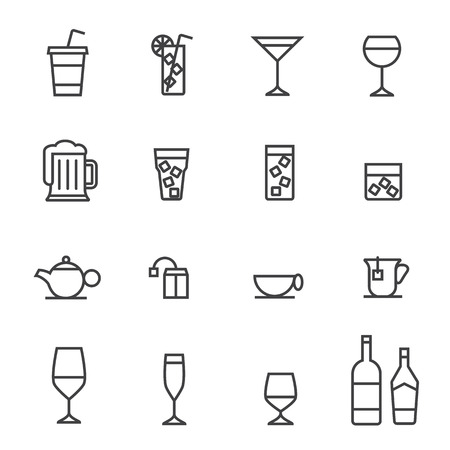 fragility: Glass and bottle vector stroked icons.