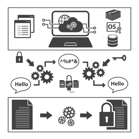 encryption: Big Data icons set, Encryption data concept