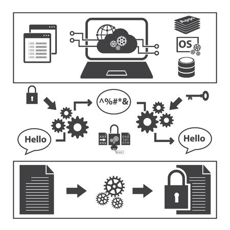 Big Data icons set, Encryption data concept