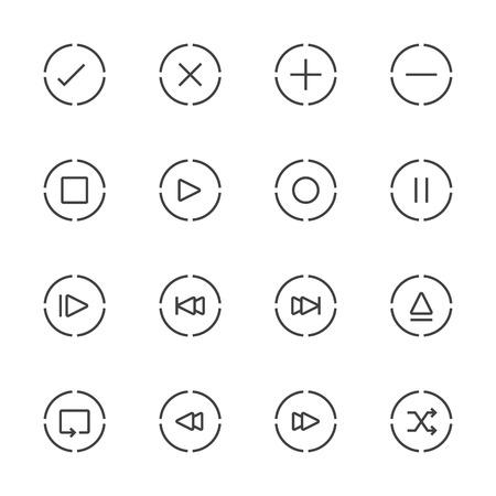 media player: Media Player Icons Set. Line Icon