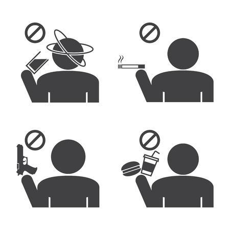abstain: Prohibited icons. Illustration