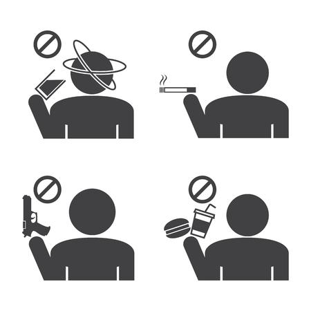 disallowed: Prohibited icons. Illustration