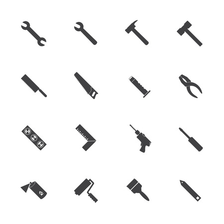 work tools: Construction equipment icons set