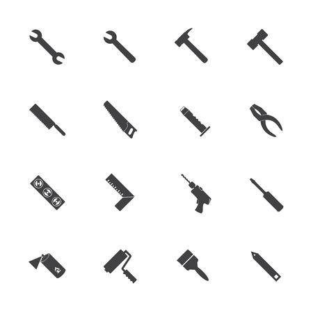 herramientas de trabajo: Iconos de equipos de construcción establecen Vectores