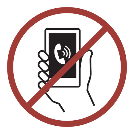 cell phones not allowed: No phone, Vector icon for public information sign Illustration