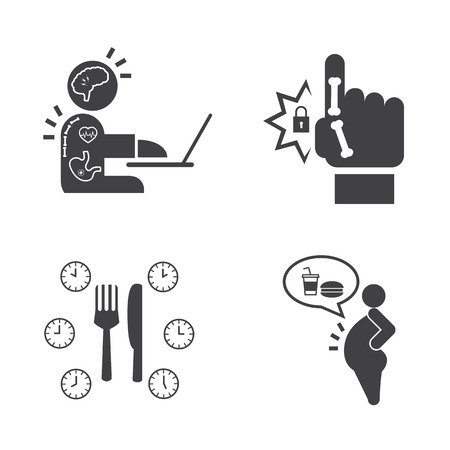 Effect of Office syndrome. Vector icons set.