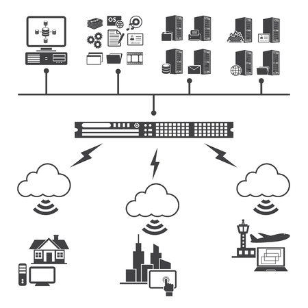 processing speed: Big Data icons set. Cloud computing concept