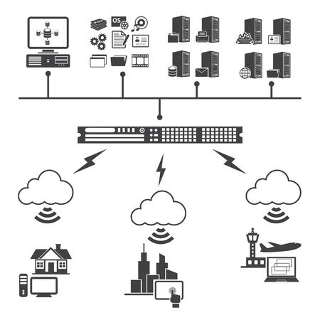 Big Data icons set. Cloud computing concept