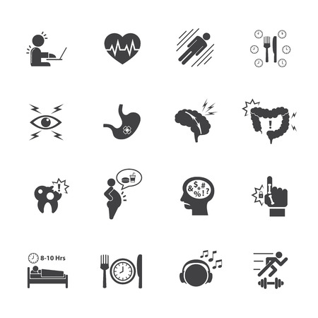 emotional pain: Effect of Office syndrome. Vector icons set.