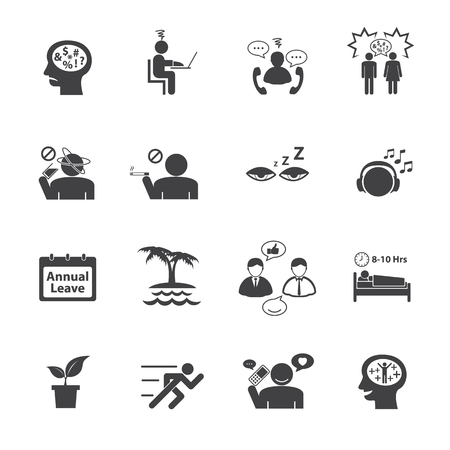 burdened: Stressed and Refreshing. Vector icons set.