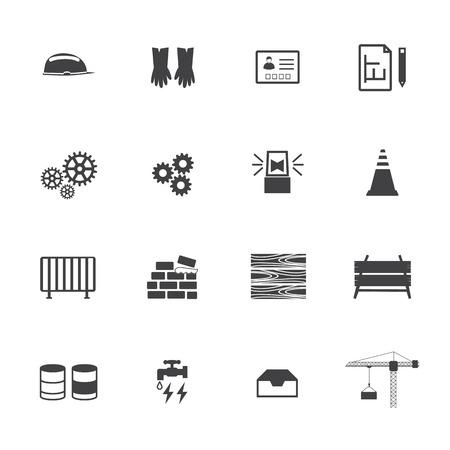 reamer: Construction equipment icons set