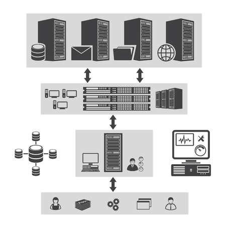 virtualization: Big data icons set. Virtualization computing. Illustration