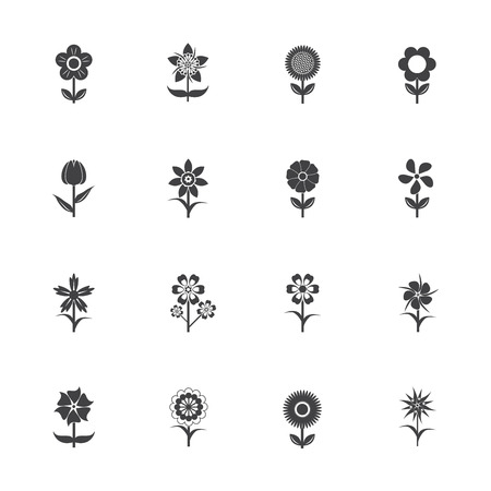 indoor bud: Flower icons set Illustration