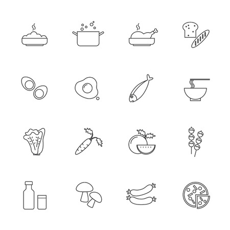 chicken rice: Food and ingredients icons set, Line icon