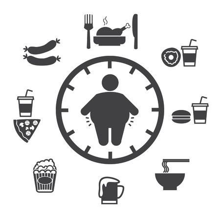 fat dog: Concept of obesity caused by food and drink, Vector icons