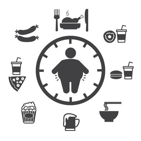 comida chatarra: Concepto de la obesidad causada por la comida y la bebida, iconos vectoriales Vectores