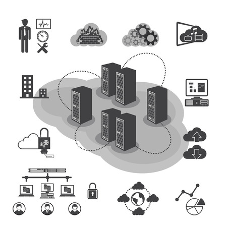 private public: Big Data icons set, Cloud computing and network concept