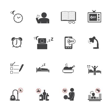 get up: Alzarsi presto, quotidiano set di icone di routine Vettoriali