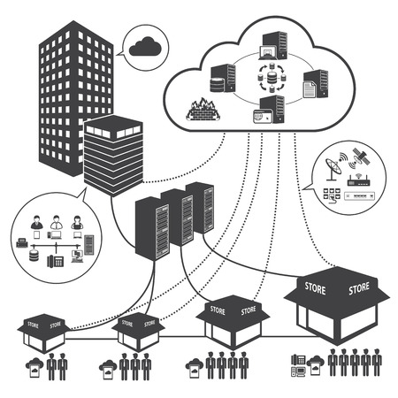 private server: Big Data icons set, Cloud computing and network concept