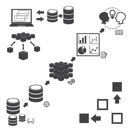 processing speed: Big Data icons set, Data minning concept Illustration