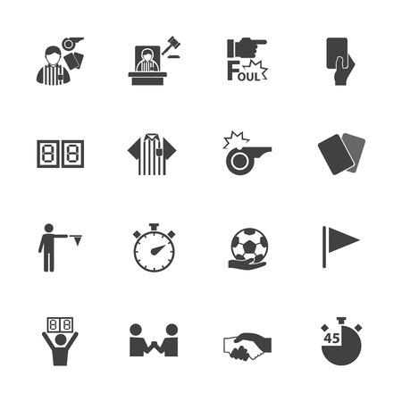 soccer referee: Soccer referee icons set