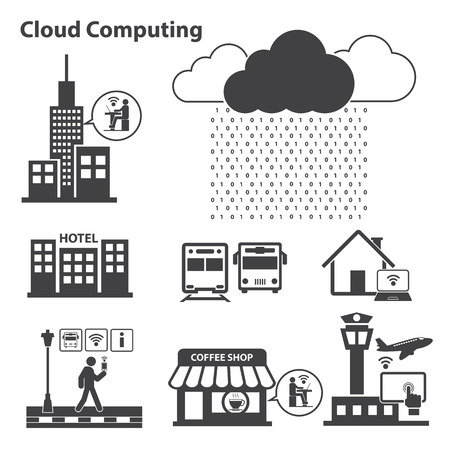 virtualization: Big data icons set, Cloud computing