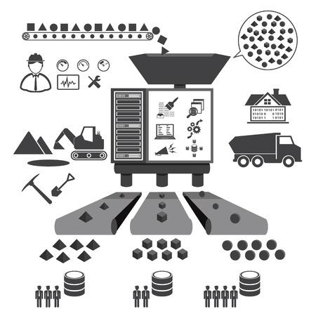 Big Data icons set, Data minning concept Ilustração