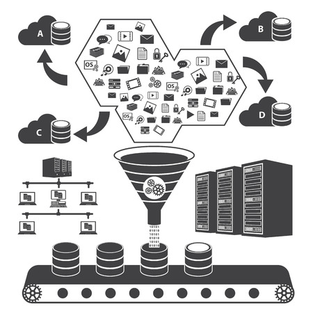 computer data: Big Data icons set, Cloud computing concept