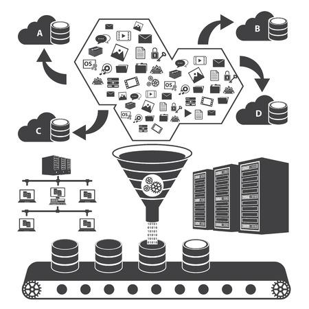 Big Data icons set, Cloud computing concept