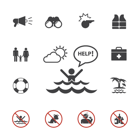 Lifeguard and beach warning icon set Illustration
