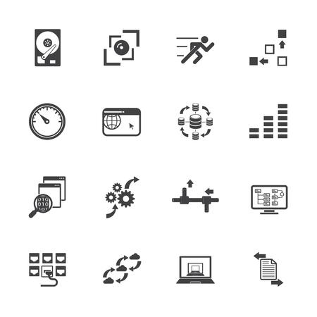 computer data: Big data concept icons set, Computer technology