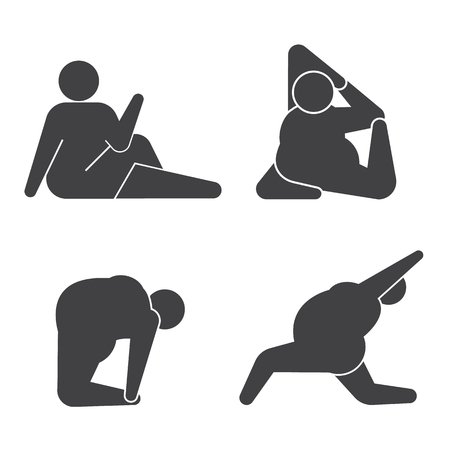 icon man: Big guy in pose practicing yoga