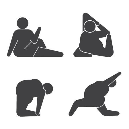 gordos: Individuo grande en pose practicar yoga