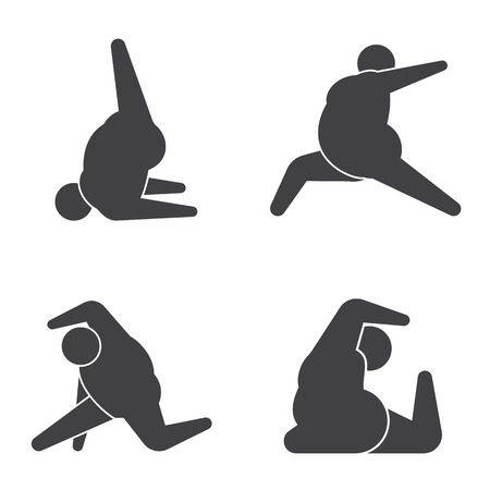 the fat man: Big guy in pose practicing yoga
