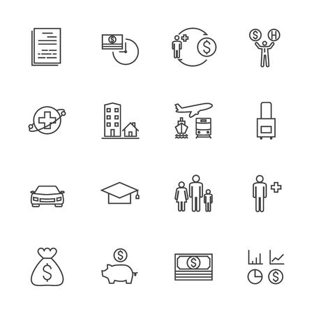 reserves: Insurance icon set. Line icons Illustration