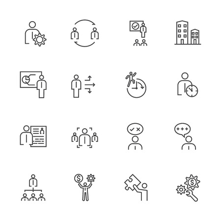 telephone interview: Business Icons Set, Team building concept