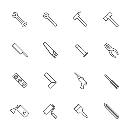 auger: Line icons. Construction equipment