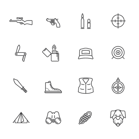 wildlife shooting: Line icons. Hunting and outdoor activity symbols