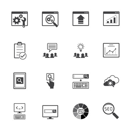 hub computer: Big data icons set. SEO concept.